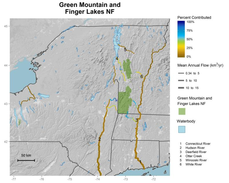 Green Mountain and Finger Lakes National Forests streamflow contributions