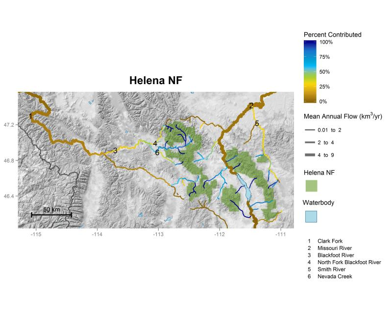 Helena National Forest streamflow contributions