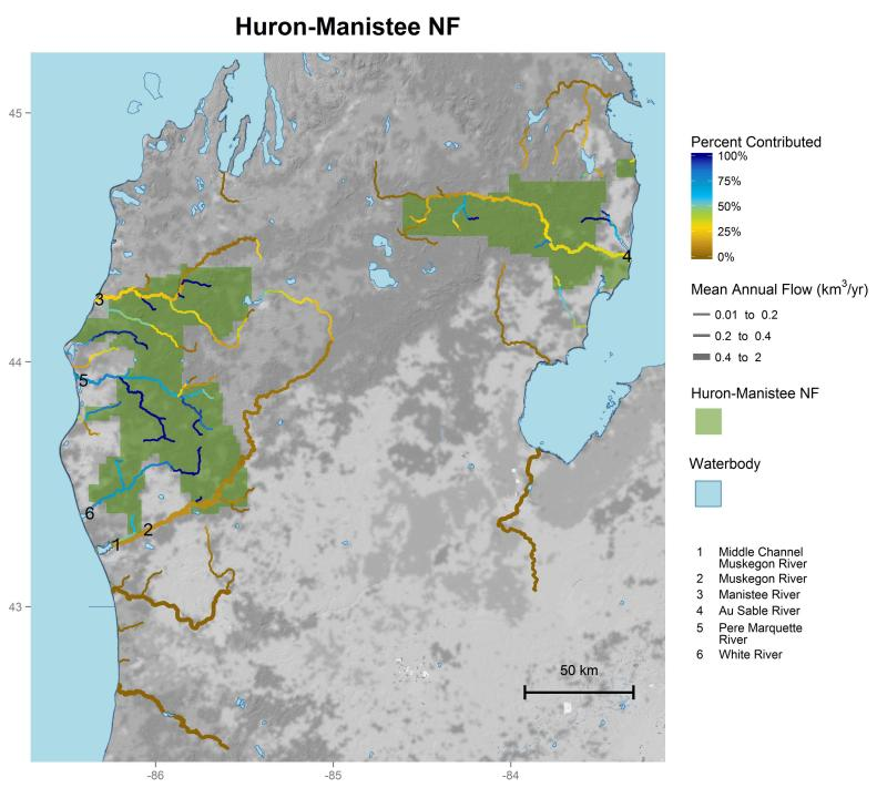 Huron-Manistee National Forest streamflow contributions