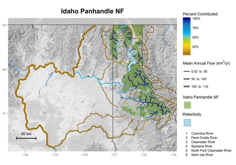 Idaho Panhandle National Forests streamflow contributions