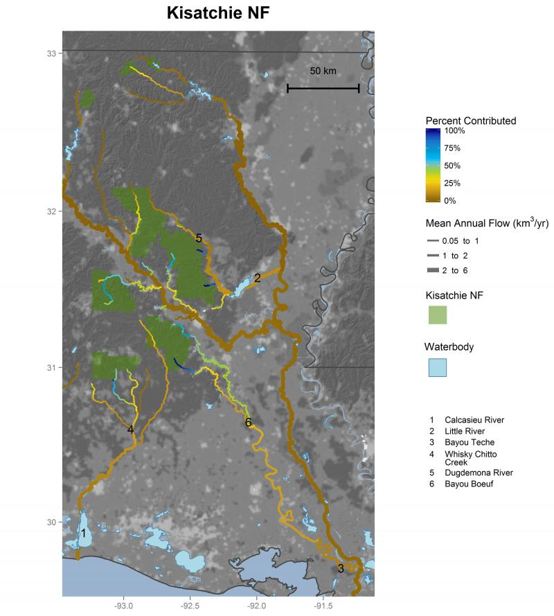 Kisatchie National Forest streamflow contributions
