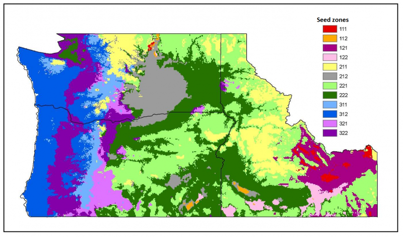 Seed zones in Washington state for prairie junegrass.