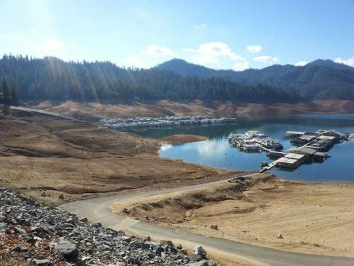 Lake Shasta, the largest manmade lake in CA, was at 36 percent capacity when this photo was taken in Jan. 2014
