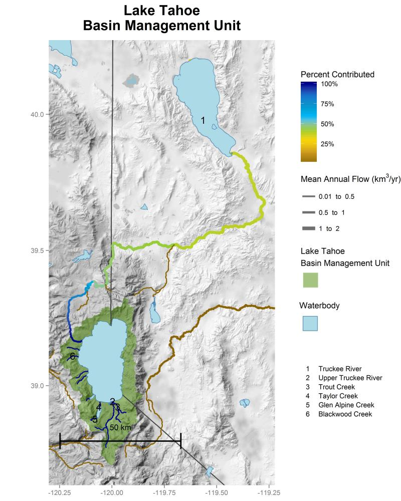 Lake Tahoe Basin Management Unit streamflow contributions