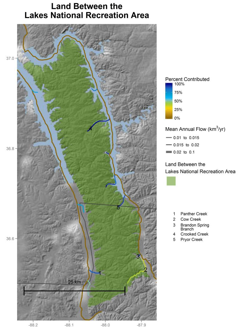 Land Between the Lakes National Recreation Area streamflow contributions