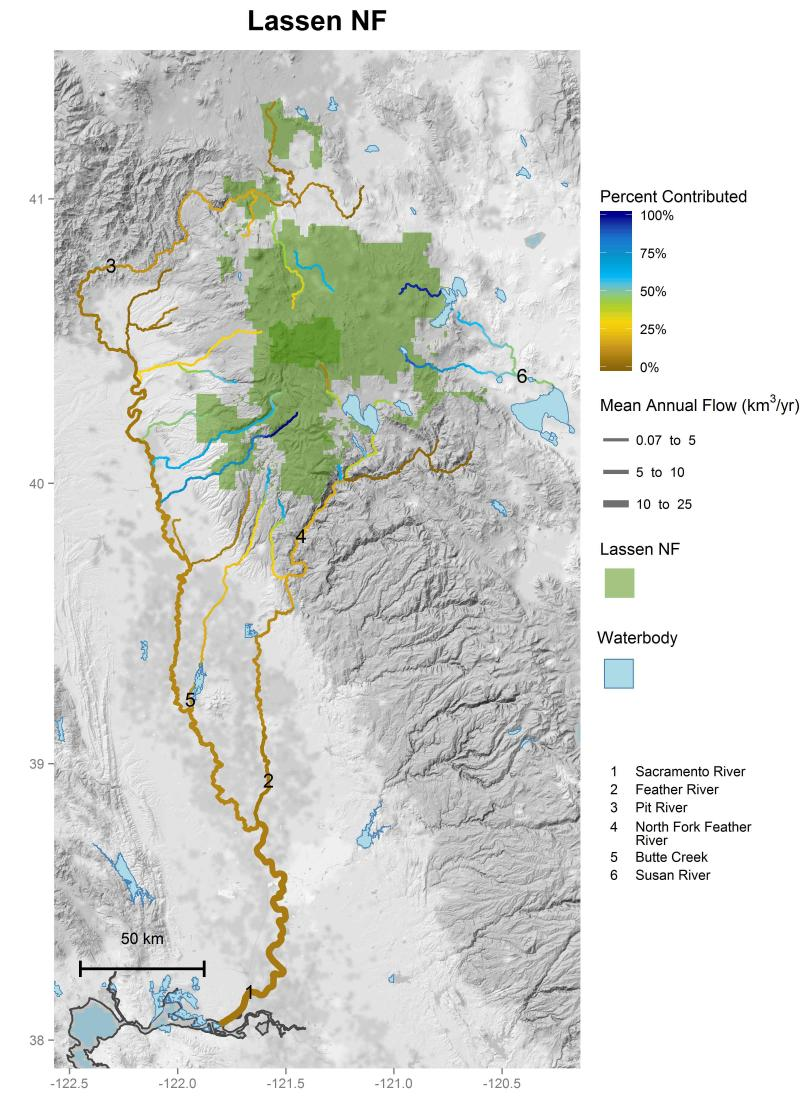 Lassen National Forest streamflow contributions