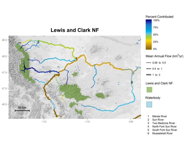 Lewis and Clark National Forest streamflow contributions