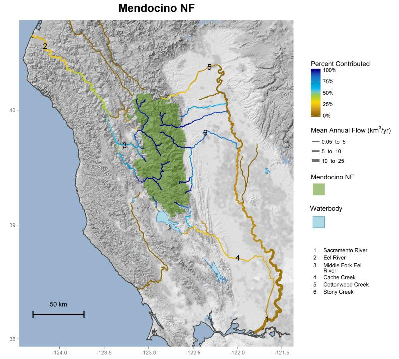 Mendocino National Forest streamflow contributions