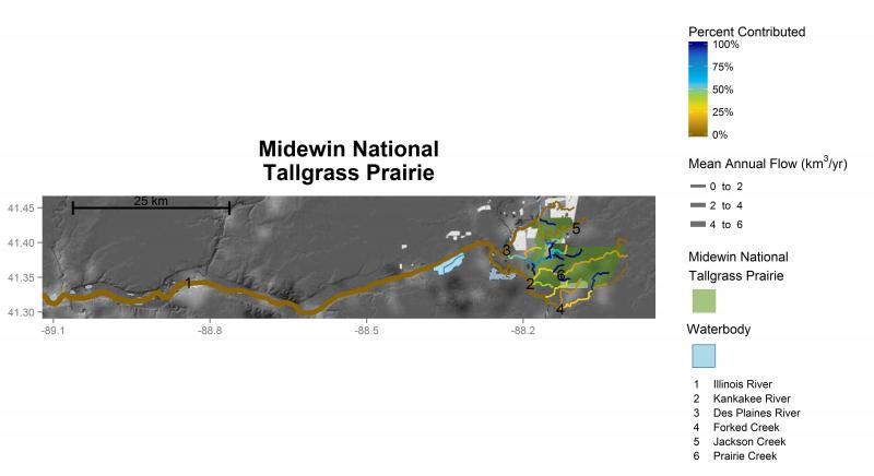 Midewin National Tallgrass Prairie streamflow contributions