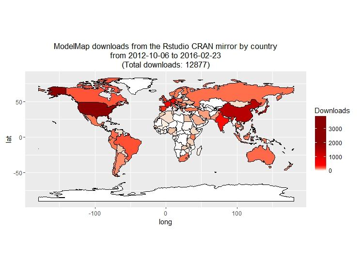 A world map displaying the density of ModelMap downloads