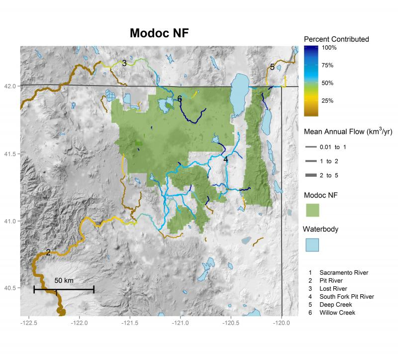 Modoc National Forest streamflow contributions
