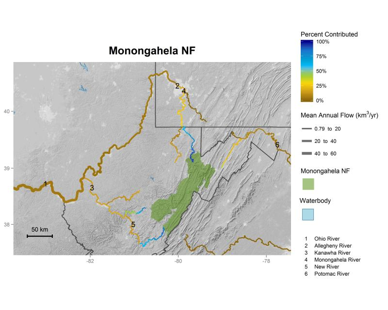 Monongahela National Forest streamflow contributions