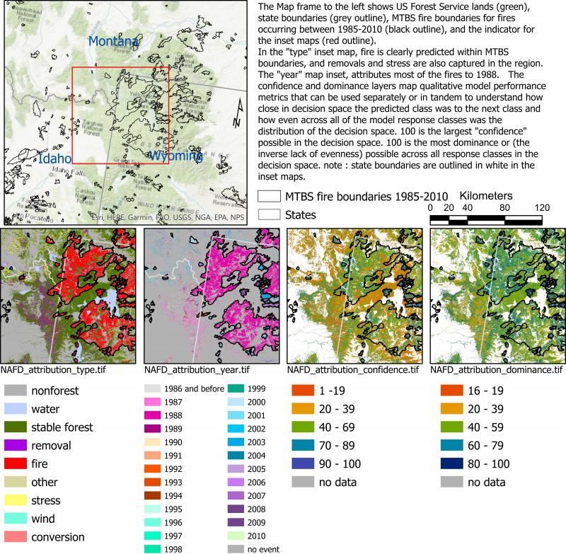 A multi-panel image with one map of FS lands and fire boundaries, one of forest change type, one of forest change year, and maps of confidence and dominance. They show that the model predicts change due to fire in the time and place that fire occurred.