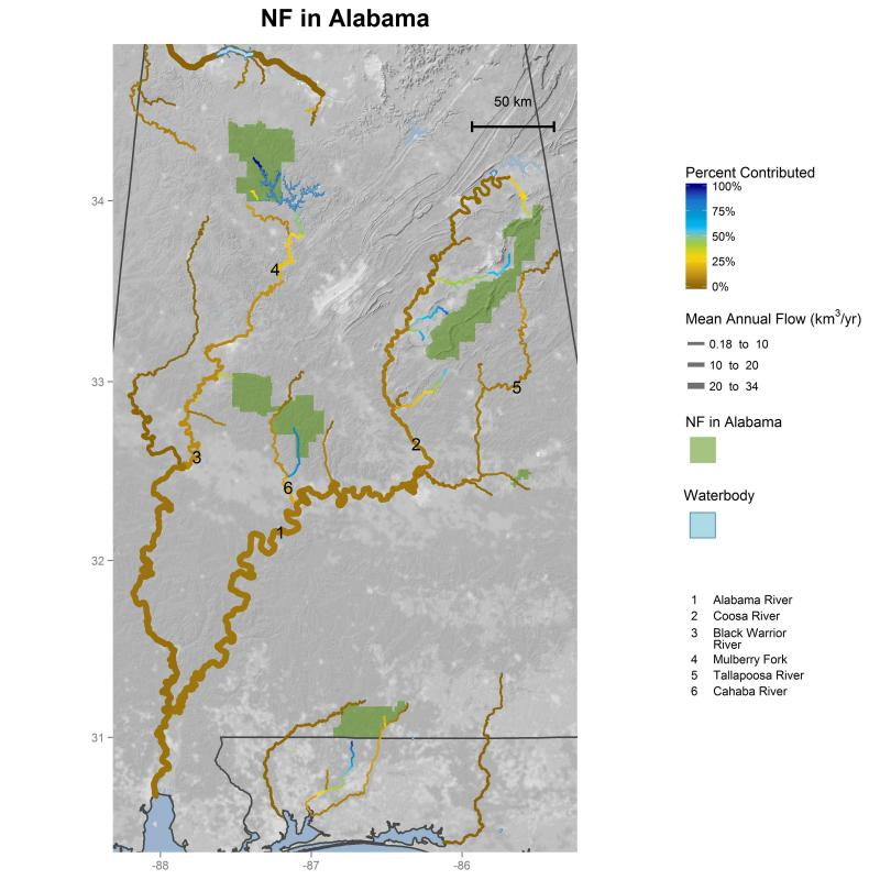 Streamflow contributions of national forests in Alabama