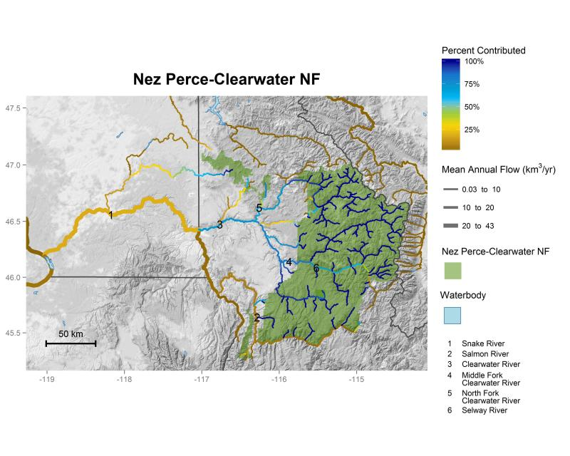 Nez Perce - Clearwater National Forest streamflow contributions