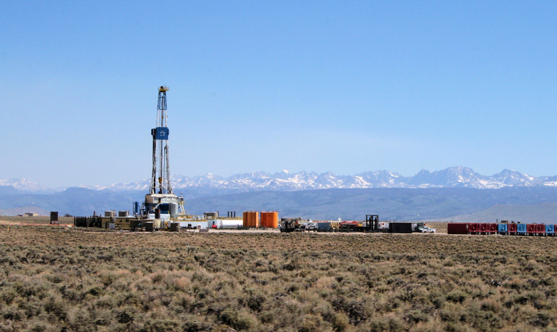 Significant management issues in the eastern part of the sagebrush biome are land-use activities like cropland conversion and energy development. The photo shows shows a deep gas drill rig outside of Pinedale, Wyoming.