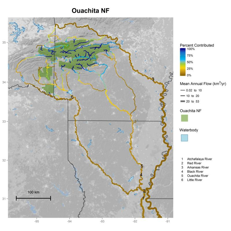 Ouachita National Forest streamflow contributions