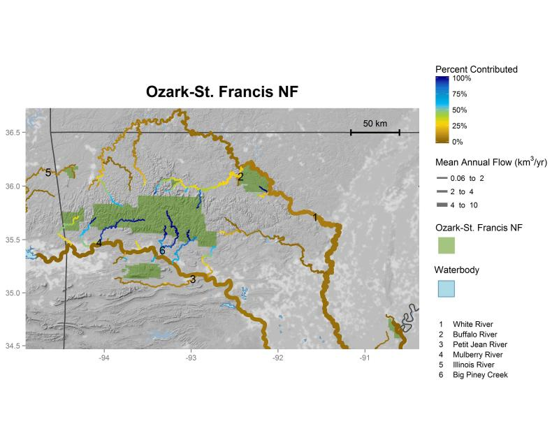 Ozark-St. Francis National Forest streamflow contributions