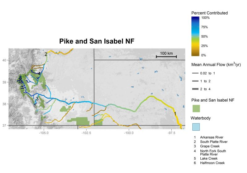 Pike and San Isabel National Forests streamflow contributions