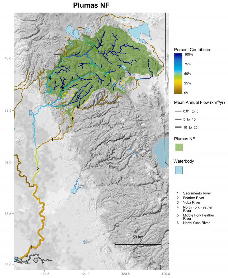 Plumas National Forest streamflow contributions