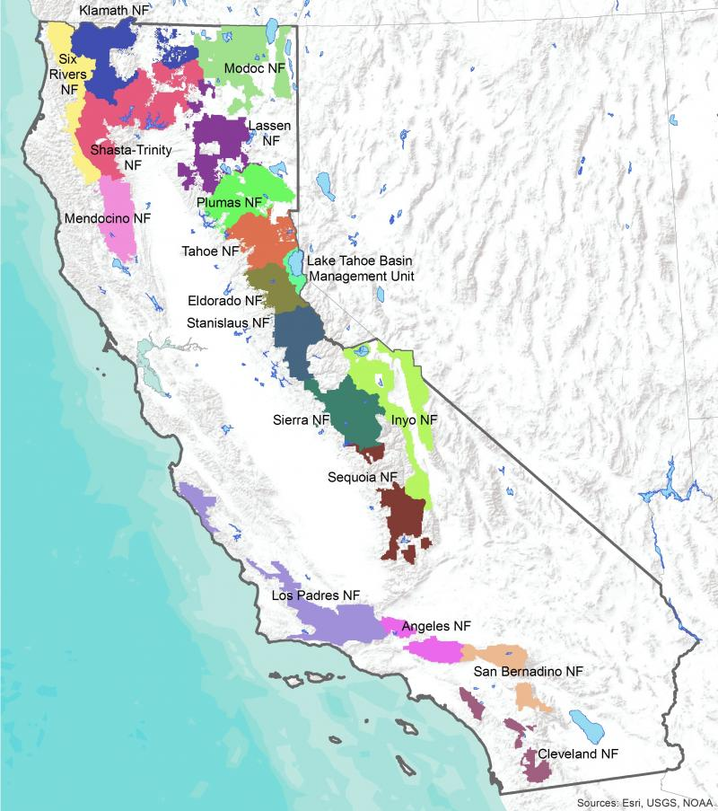 National forests in Region 5