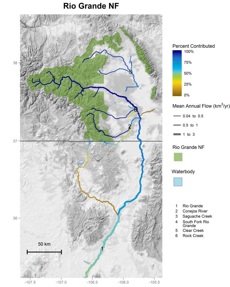 Rio Grande National Forest streamflow contributions