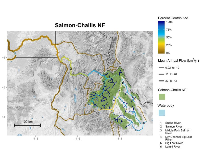 Salmon-Challis National Forest streamflow contributions