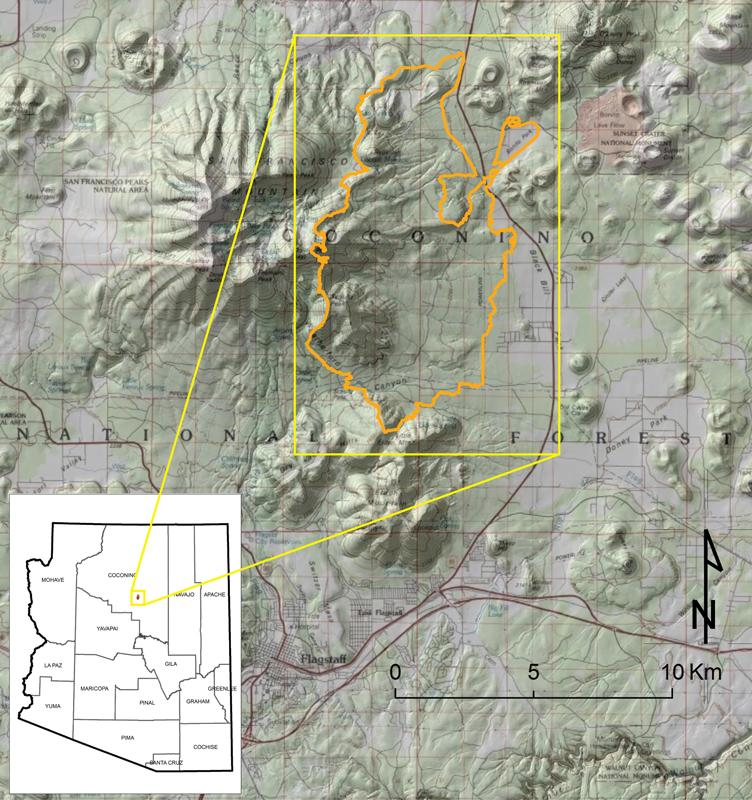 Location of the Schultz Wildfire (orange outline).