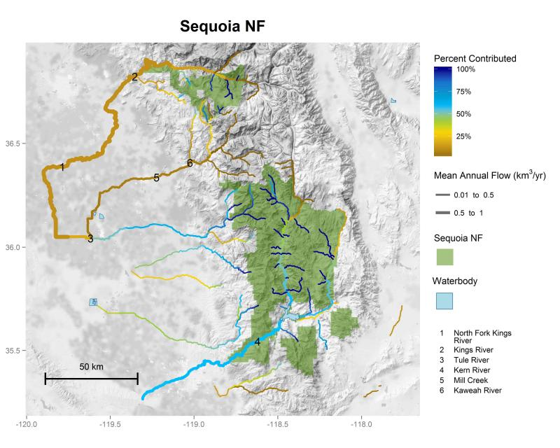 Sequoia National Forest streamflow contributions