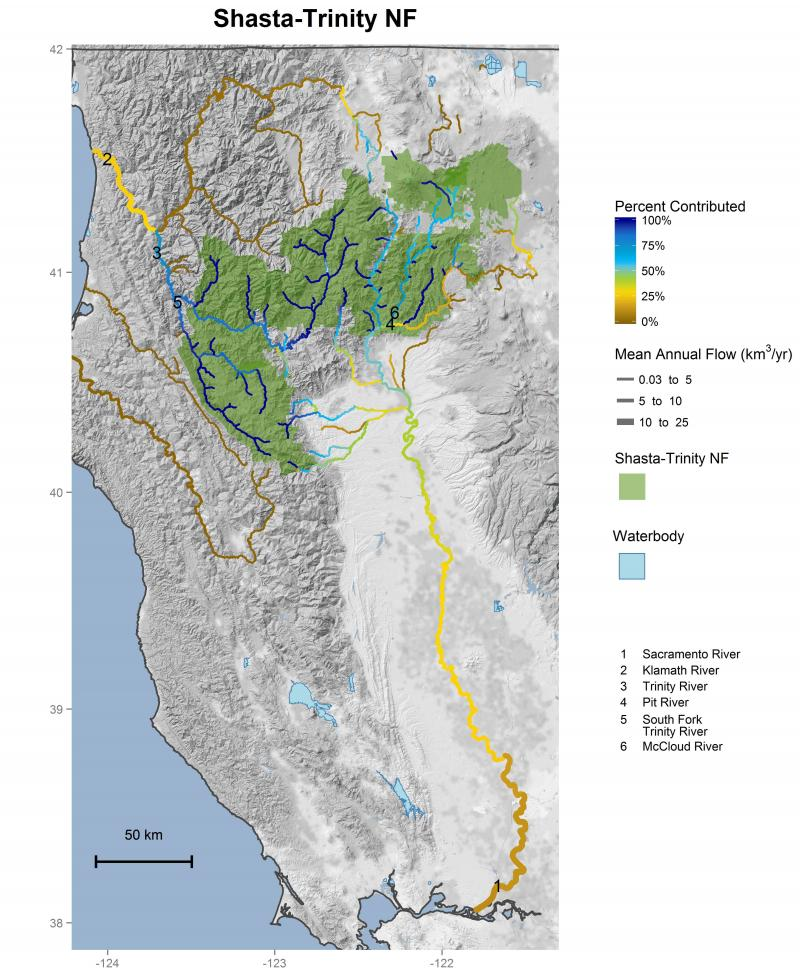 Shasta-Trinity National Forest streamflow contributions