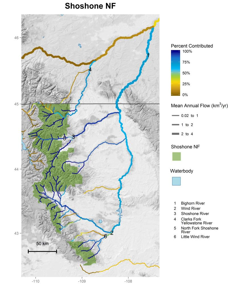 Shoshone National Forest streamflow contributions