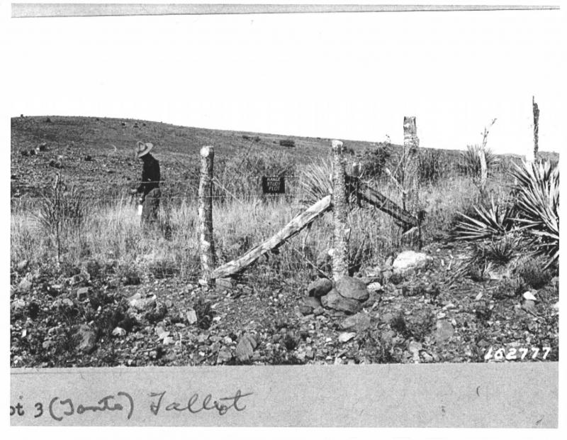 M.W. Tallbot, a pioneer in rangeland ecology and an early scientist working at the Sierra Ancha Experimental Forest, inspects Plot 3 which was one of the first range exclusion plots established in approximately1920.