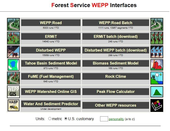 Image of the WEPP interface (click to access website).