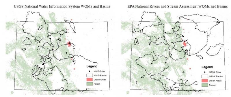 USGS national water information system (left) and EPA national rivers and stream assessment (right) for the state of Colorado.