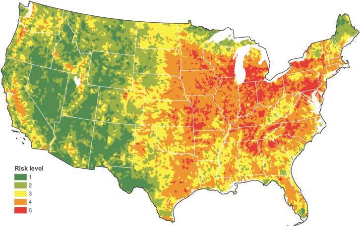 Overall risk category for water-quality impairment across the contiguous U.S. (Brown and Froemke 2012).
