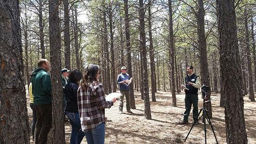 Research Forester Mike Battaglia leads a field tour at the Manitou Experimental Forest, in Colorado. Photo Credit: US Forest Service