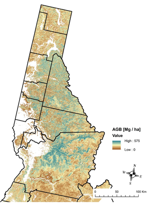 Fig. 3. First regional map produced in our northern ID preliminary focal area. The year 2012 is predicted, and maps have been generated from 2004-2012