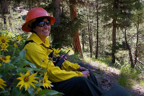 Photo of Terrie Jain, scientist-in-charge, at the Boise Basin Experimental Forest.