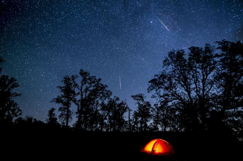 Perseid meteor shower viewed from the Cache Creek Wilderness Area. Photo courtesy of Bob Wick, Bureau of Land Management Wilderness Specialist