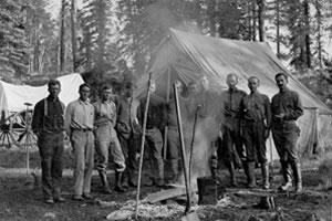 Timber reconnaissance party in camp (1910).