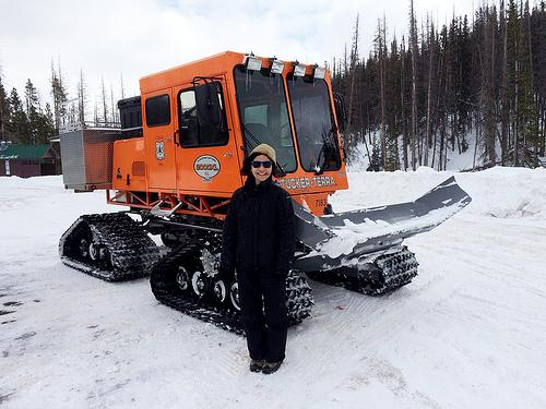 Carita Chan was excited to get to ride in a Sno-Cat for the first time. Photo Credit: US Forest Service