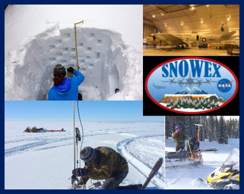 SnowEx photo collage including snow pit, aircraft used for aerial data collection, and researchers working in the field during the ground campaign