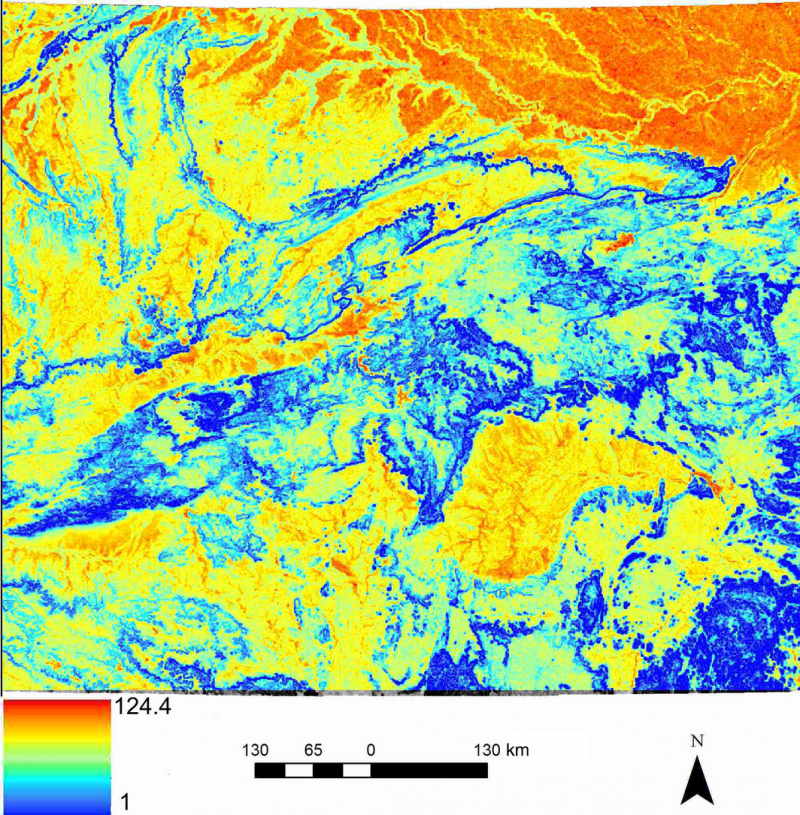 Final resistance map depicting the combined effects of topographical roughness, slope position, land cover and human footprint on resistance to tiger gene flow in Central India.