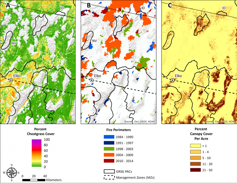 Three maps of an area near Elko, NV showing percent of cheatgrass cover, fire perimeters, percent canopy cover per acre, GRSG PACs, and Management Zones.