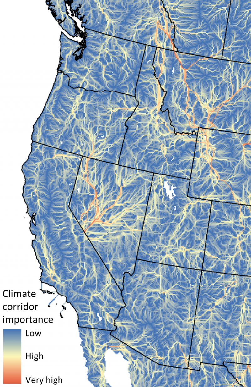 A map of the western United States with climate corridor importance shown in blue (low) to red (very high).