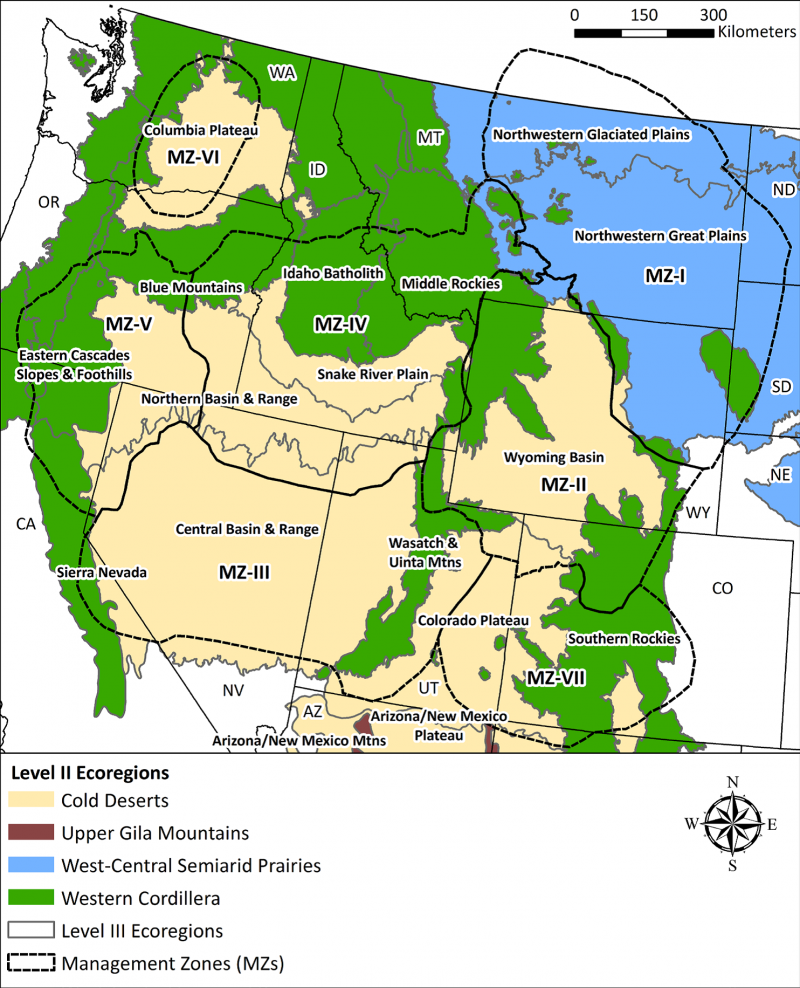 A map of the western U.S. showing the EPA's Level II and III Ecoregions overlaid with the sage-grouse Management Zones (dotted lines) developed by the Western Association of Fish and Wildlife Agencies. Figure from the Science Framework, Parts 1  and 2.