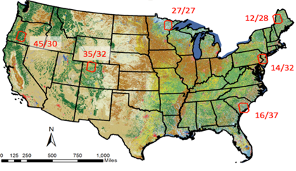 Several of the latest change detection algorithms are being tested against validation data in six diverse areas of the US (red polygons labeled by Landsat frame).