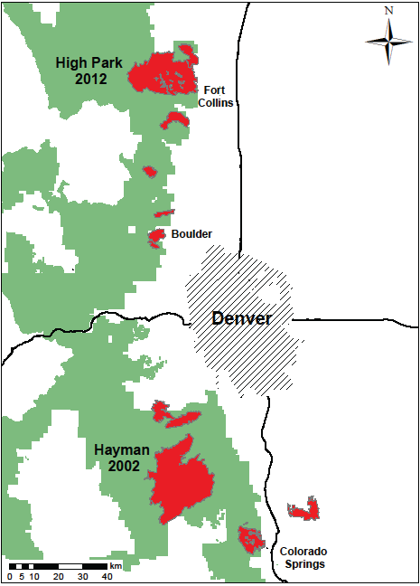Map of the 2002 Hayman fire and the 2012 High Park fire.