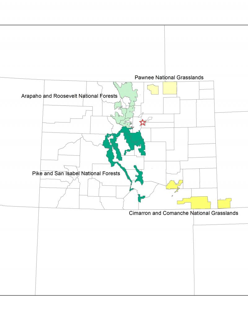 A map highlighting National Forests and Grasslands that will undergo the climate change vulnerability assessment.