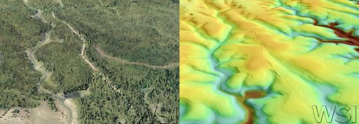 View looking south over a burned area at the fork of Moquitch and Snipe Canyons. Left image derived from LiDAR points colored by 2010 NAIP imagery. Right image derived from ground classified LiDAR points colored by elevation.